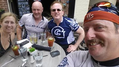 Having lunch in Old Town on the trip back (l to r: D'arcy Kirkland, Ron Sinclair, Jim Kirland and Phil Geyer).